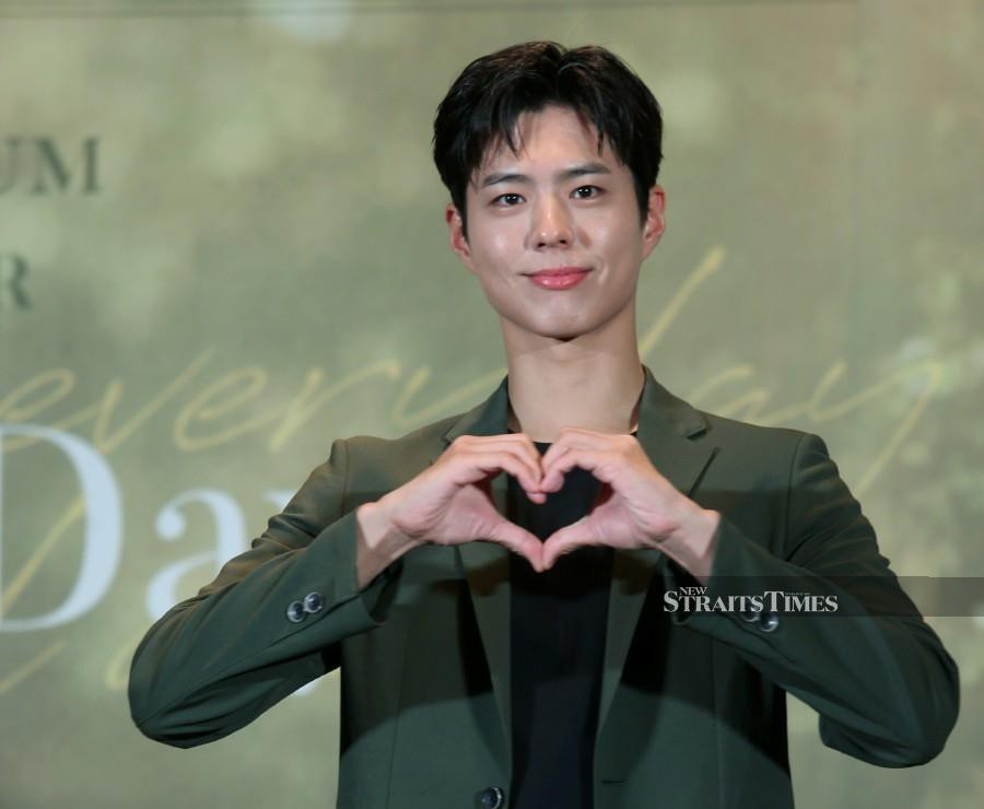 South Korean star Park Bo-Gum gestures during the 2019 Park Bo-gum Asia Tour: May Your Everyday be a Good Day, press conference in Kuala Lumpur. - NSTP/ROHANIS SHUKRI.