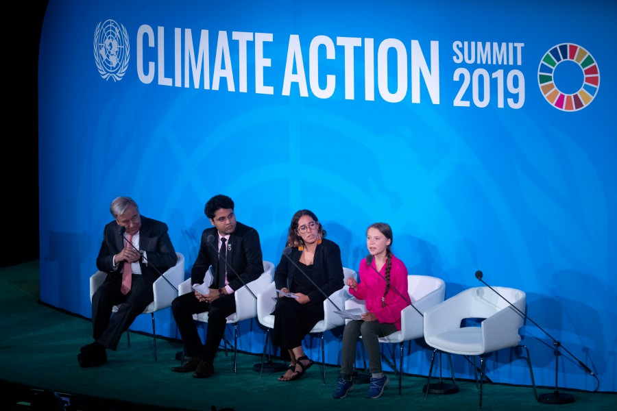 Greta Thunberg (R), a 16-year-old climate activist from Sweden, addresses world leaders at the start of the 2019 Climate Action Summit which is being held in advance of the General Debate of the General Assembly of the United Nations, at United Nations headquarters in New York, USA, 23 September 2019. — EPA