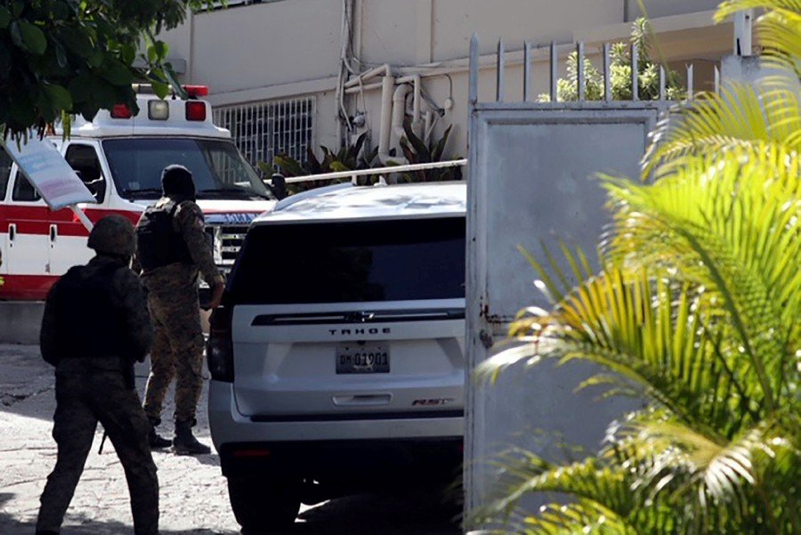 Vehicles are seen near the hospital where Haitian First Lady Martine Moise was taken on July 7, 2021 in Port-au-Prince, Haiti. - AFP Pic