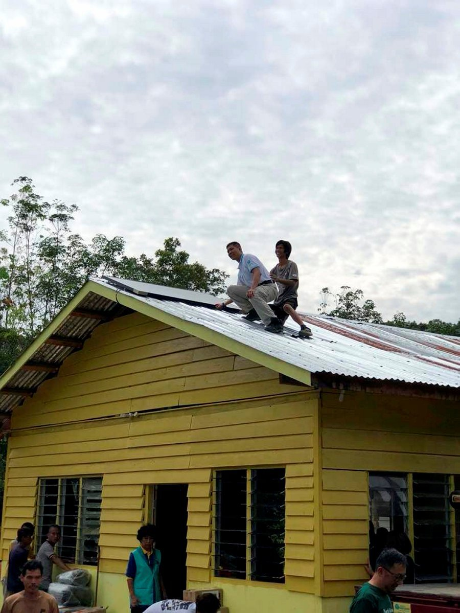 """Solar panels installed on houses and churches for the Penan community in Ulu Baram during the """"Giving Hope, Sharing Love"""" charity project last week."""