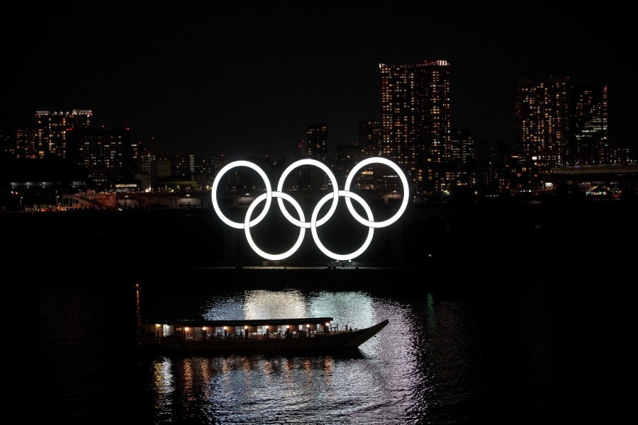 The Olympic rings are seen at Tokyo's Odaiba district. - AFP pic