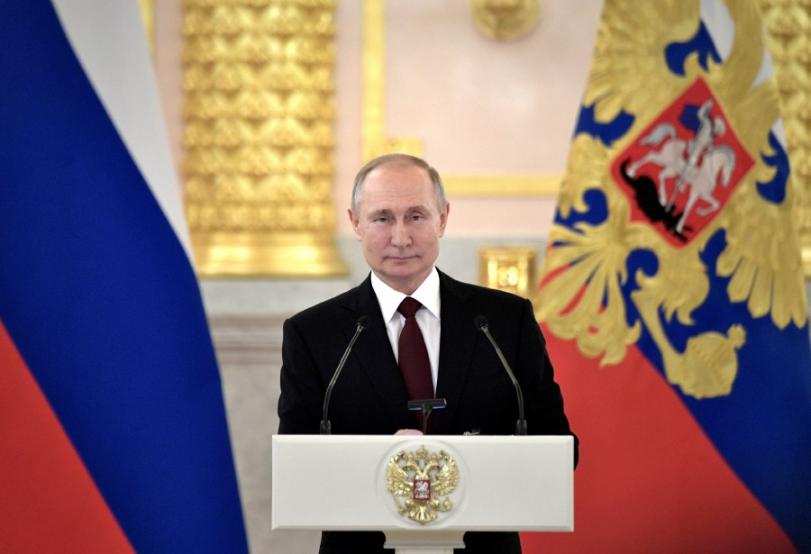 Russian President Vladimir Putin attends a ceremony for newly appointed foreign ambassadors to Russia, at the Kremlin in Moscow, Russia. -Sputnik/Aleksey Nikolskyi/Kremlin via Reuters