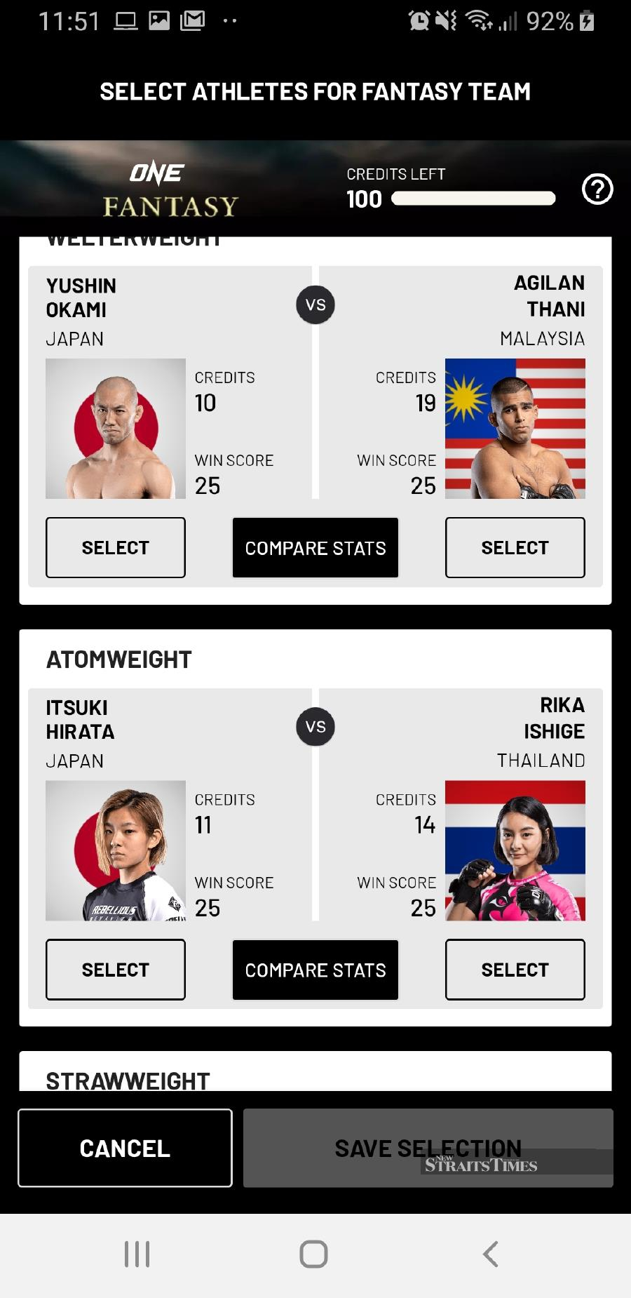 Select your athlete. Pictures courtesy of ONE Championship.