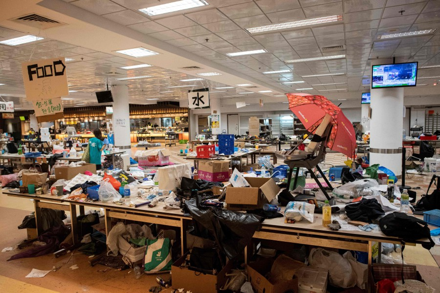 A general view shows a canteen inside the Hong Kong Polytechnic University in the Hung Hom district of Hong Kong. - AFP