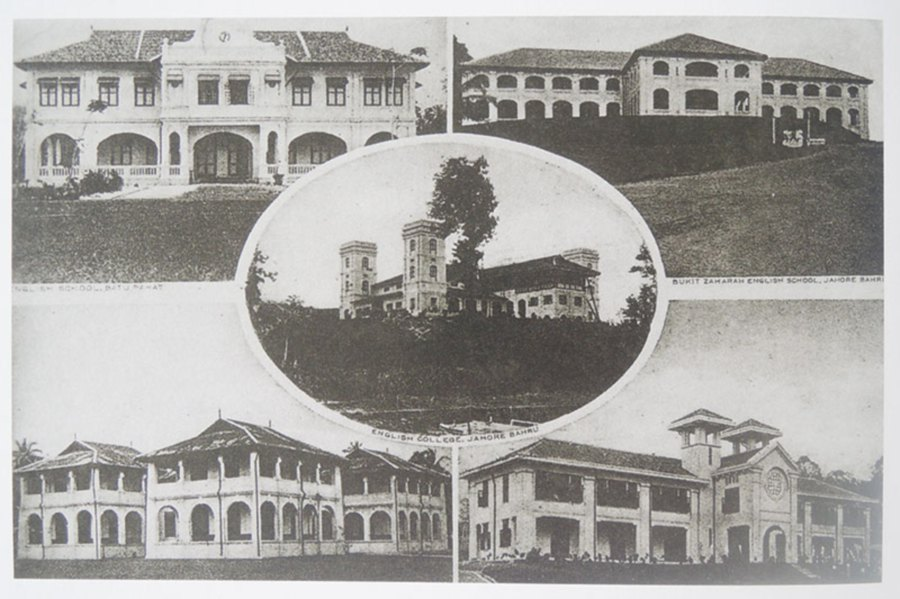 Photo montage of the five leading schools in Johor (clockwise from top right) Bukit Zahara School Johor Baru, Convent of the Holy Infant Jesus Johor Baru, Muar English School, Batu Pahat English School and Boarding School JB (middle). Photos courtesy of Alan Teh Leam Seng