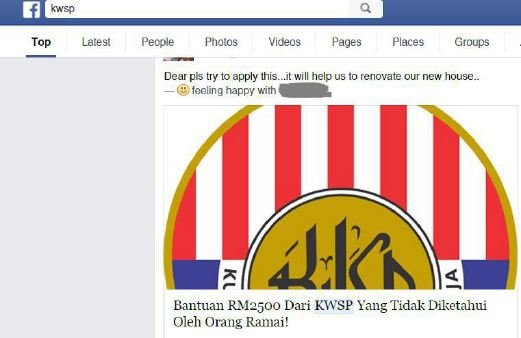 Facebook post on RM2,500 half-yearly monetary assistance