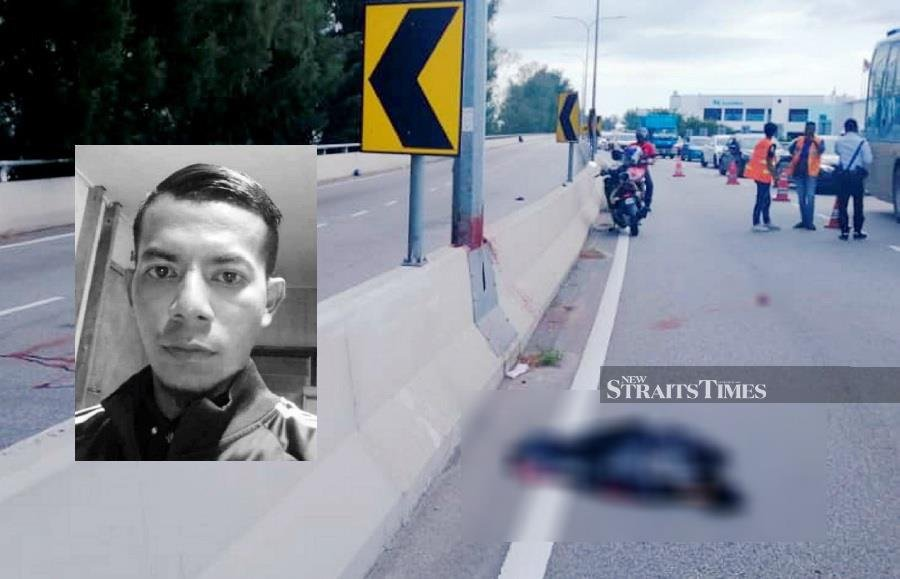 A man was killed when he lost control of his motorcycle, which skidded and crashed into a lamppost at the elevated section of the Lebuhraya Tun Dr Lim Chong Eu Expressway, here, this afternoon. (Pic courtesy from PDRM)