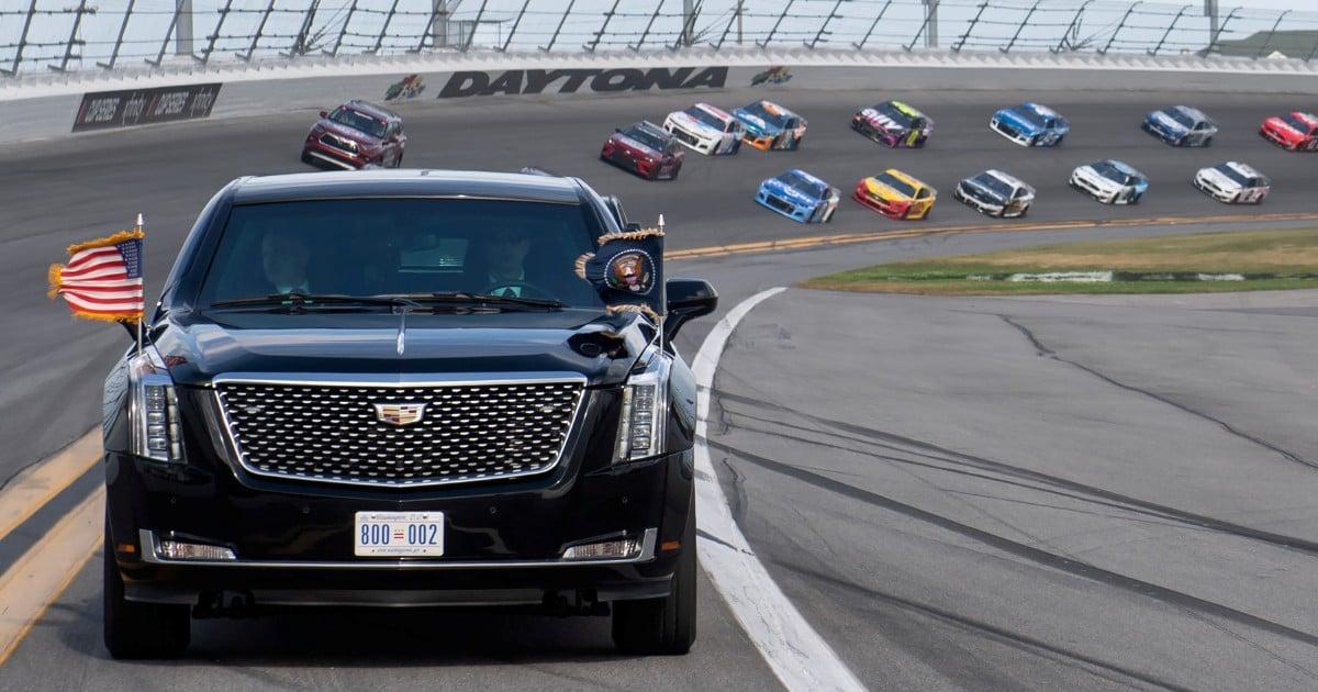 Trump takes 'The Beast' for a lap around Daytona