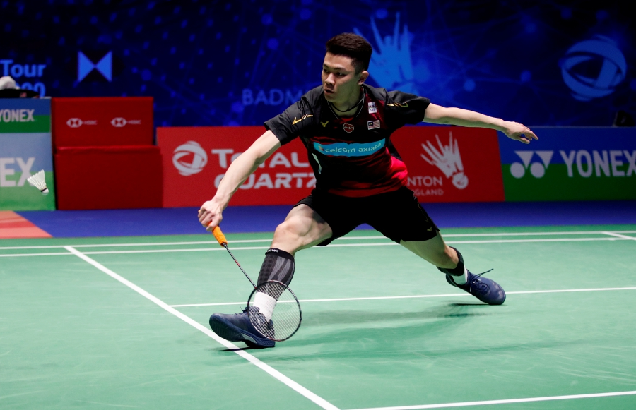 Malaysia's Lee Zii Jia in action during his semi final match against Denmark's Viktor Axelsen at the All England Open Badminton Championships in Birmingham, Britain on March 14. - REUTERS pic
