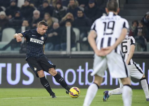 Inter Milan's new signing Lukas Podolski in action against Juventus in Turin. The game ended 1-1. REUTERS