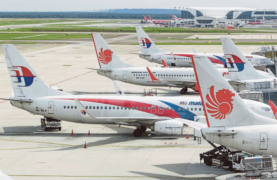 Malaysia Airlines and Malindo Air carriers seen here at the Kuala Lumpur International Airport (KLIA)