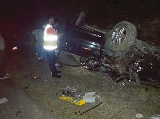 Two children were killed in an accident near Maran last night. Pix courtesy of police