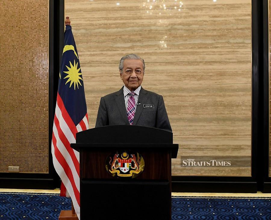 Prime Minister Tun Dr Mahathir Mohamad adressing his speech on 2019 National Day Message at the Prime Minister's Office today. (BERNAMA)