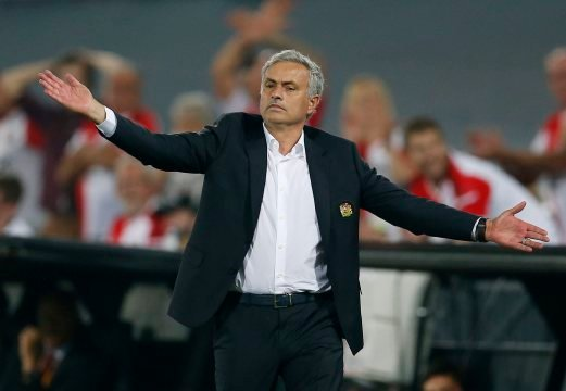 Manchester United manager Jose Mourinho orders his team to move higher on the pitch against Feyenoord. REUTERS