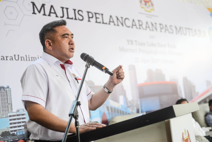 Transport Minister Anthony Loke delivers his speech during the launch of the unlimited travel Mutiara Pass for Rapid Penang and Rapid Ferry at the Rapid Penang terminal in Weld Quay. -NSTP/Shahnaz Fazlie Shahrizal
