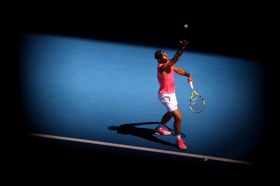 Rafael Nadal in action during his match against Spain's Pablo Carreno Busta. -Reuters