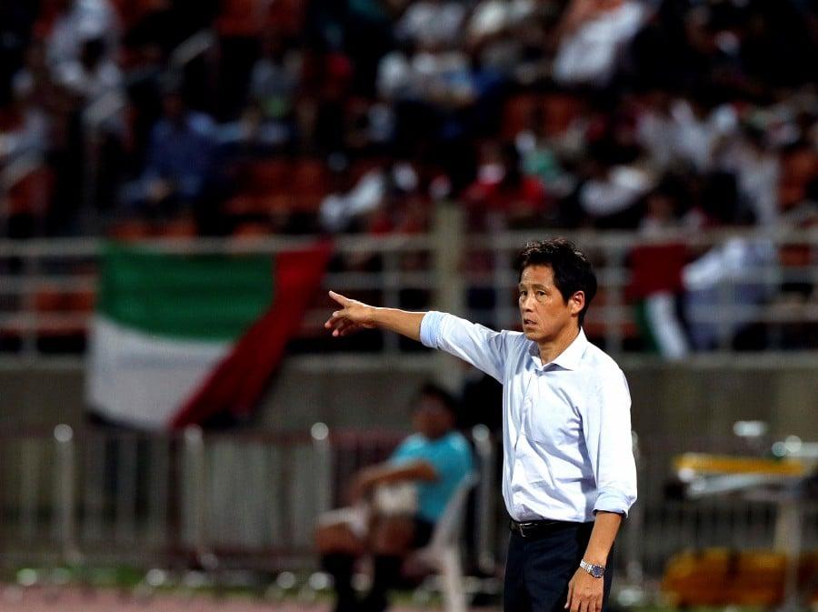 Thailand's coach Akira Nishino reacts during the match against the United Arab Emirates (UAE) at Thammasat Stadium in Bangkok, Thailand. - EPA