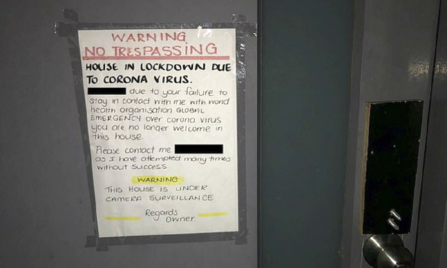 The Malaysian student in Perth was shocked to see the notice posted on her house's front door by the owner.