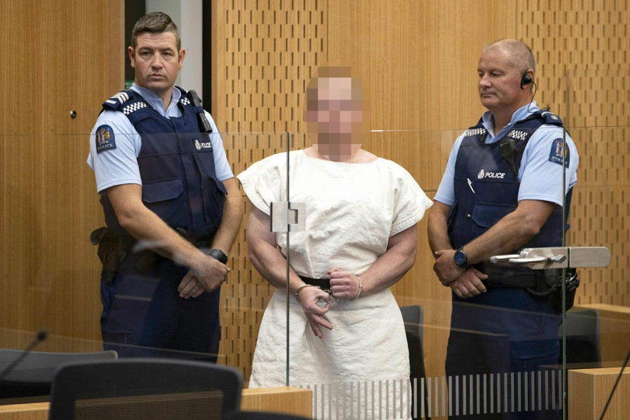 In this file photo taken on March 15, 2019 Brenton Tarrant, the man charged in relation to the Christchurch massacre, makes a sign to the camera during his appearance in the Christchurch District Court on March 16, 2019. AFP/FILE PIC
