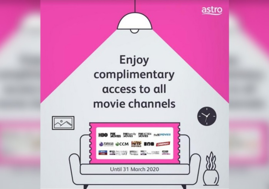 Astro customers can watch all of the company's movie channels for free for two weeks from now till March 31.