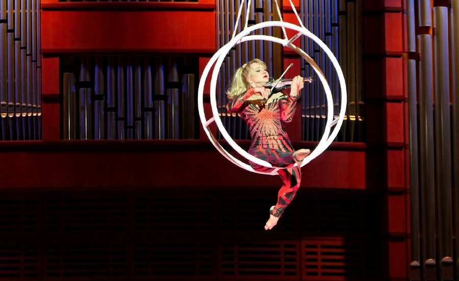 The returning Cirque de la Symphonie show that featured the MPO, upped the ante with a mesmerising aural and aerial spectacle by a floating violinist that got the audience gasping and cheering in equal measure. (Picture courtesy of MPO)