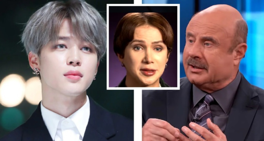 Oli London (middle) who has been obsessing over BTS member Jimin (left) since 2013, recently appeared on the popular American talk show, Dr Phil. (Picture from Koreaboo)