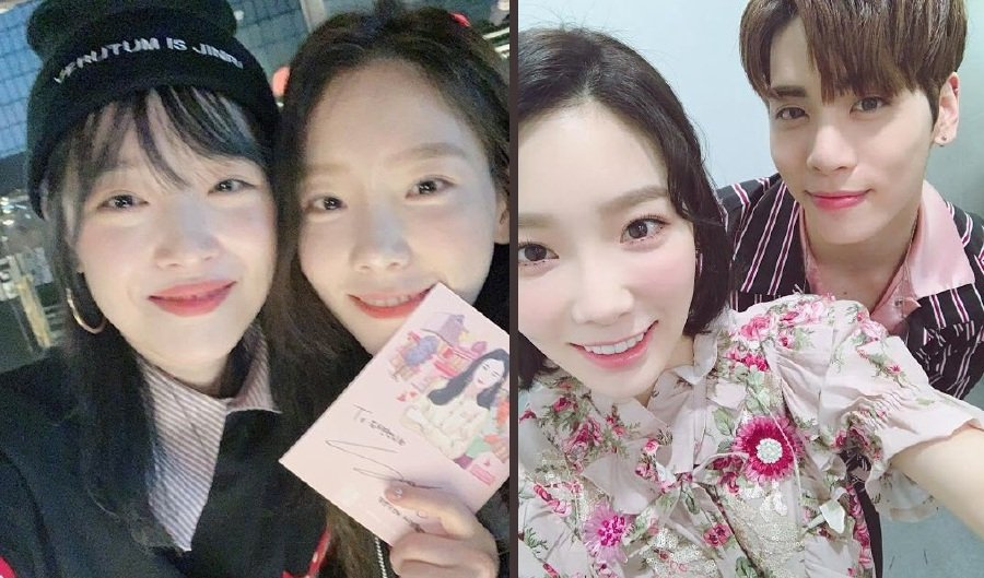 Taeyeon with Sulli (left) and Jonghyun (Picture from Koreaboo)