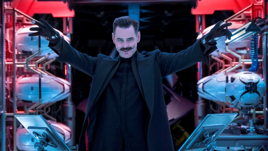 Jim Carrey's outrageous portrayal of the villainous inventor, Dr Robotnik, is certainly a highlight of the fast-paced comedy adventure. (Picture courtesy of Paramount Pictures and Sega of America)