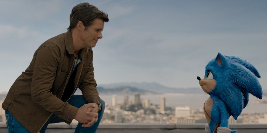 James Marsden (left) as the reliable small-town sheriff Tom, who wants to save someone for a change, and Sonic, who longs for friendship and a sense of belonging. (Picture courtesy of Paramount Pictures and Sega of America)