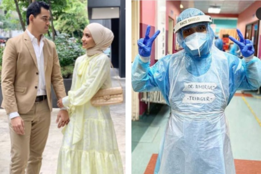 Ummi Nazeera and husband Dr Mohd Izzar Anwari with Dr Amirul (right). (Pictures from Instagram, @umminazeera)