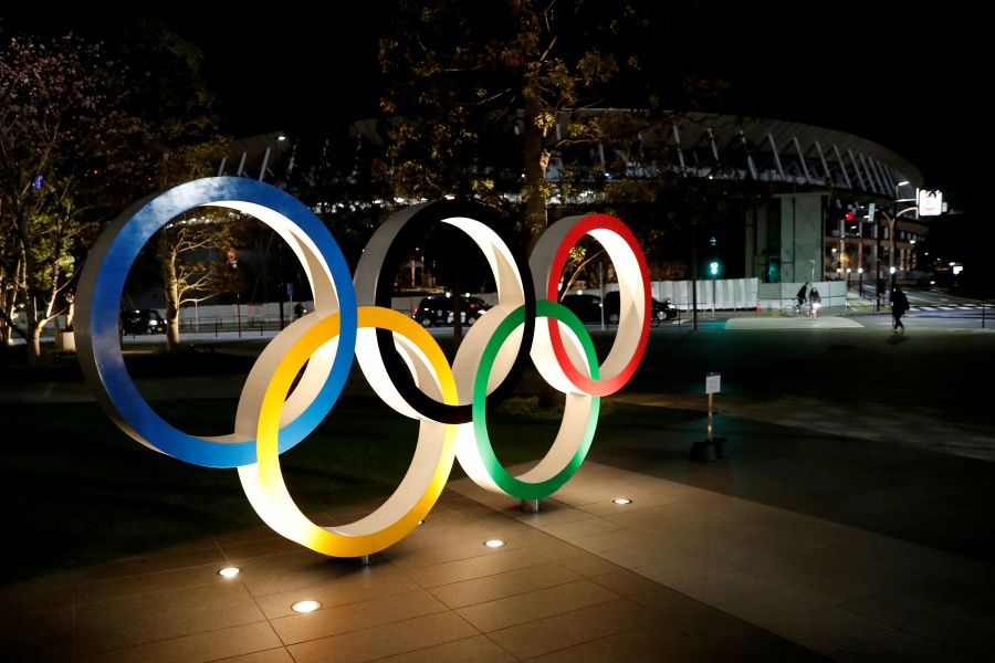 FILE PHOTO: A general view of Olympic rings in front of the Japan Olympics Museum in Tokyo, Japan March 24, 2020. REUTERS/Issei Kato/File Photo