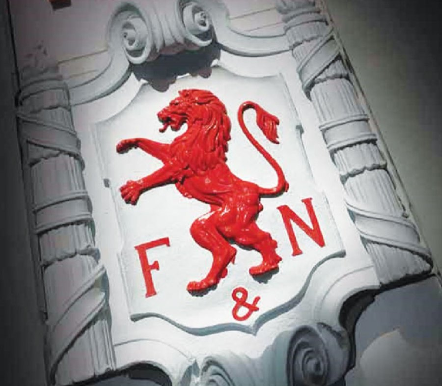 The 'rampant lion' forms part of F&N's logo.