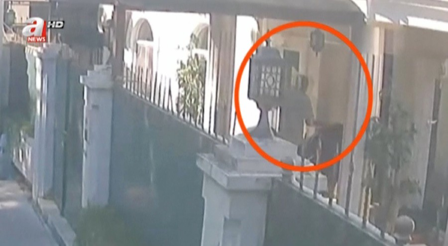 A still image taken from CCTV video and obtained by A Haber, made available December 31, 2018, claims to show a man that carries suitcases purportedly containing the remains of Saudi journalist Jamal Khashoggi into the residence of Saudi Arabia's consul general in Istanbul, Turkey. - A Haber/Reuters TV via Reuters