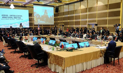 US Secretary of State, John Kerry (Front-R), chairing the ASEAN-US Ministerial Meeting of the 48th Association of South East Asian Nations (ASEAN) Foreign Ministers' Meeting (48th AMM) at the Putra World Trade Centre in Kuala Lumpur, Malaysia, 05 August 2015. Foreign ministers and leaders of the 10-member nation group, plus ministers from its international dialogue partners of China, South Korea, North Korea, Japan, India, Canada, Russia and the US, are to meet until 06 August to talk about regional security issues, including human trafficking and China's actions and disputes in the South China Sea territory. EPA/BERNAMA