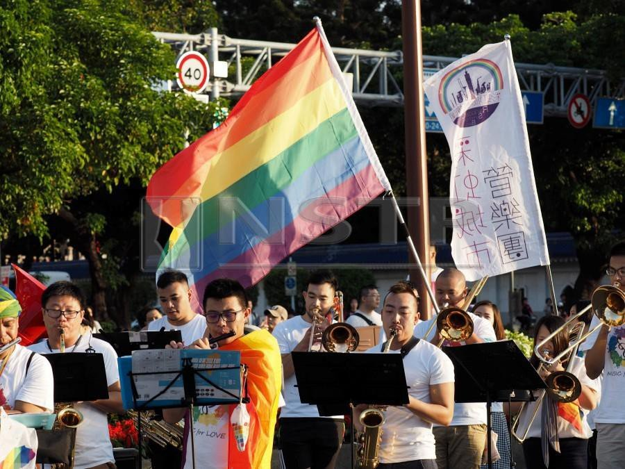 The Rainbow City Symphonic Band performs during the 2018 Taipei Gay Pride March in Taipei, Taiwan, 27 October 2018. LGBT activists called the voters to support the LGBT right to marry in the 24 November 2018 local elections that will also have several referendums regarding marriage equality. EPA