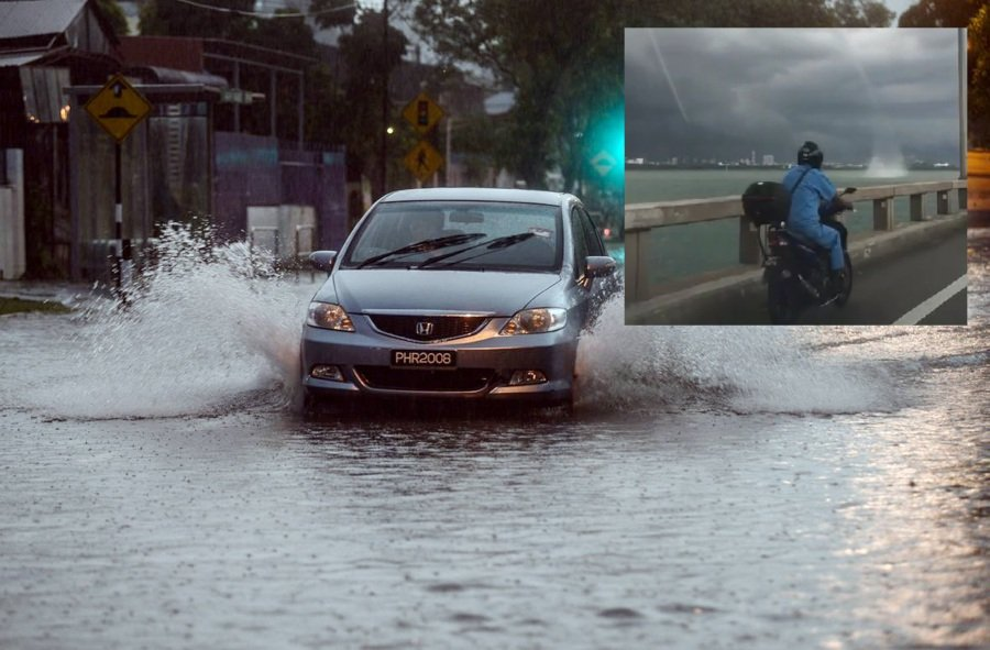 Storm At Penang Island: Reports Of Flash Floods, Waterspout As Evening Rainstorm