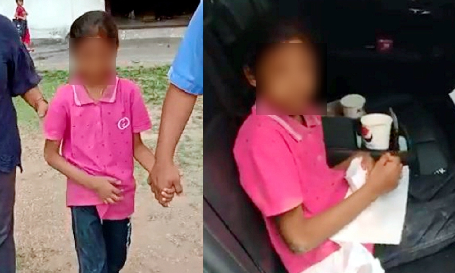 The badly bruised 11-year-old child was rescued by the police from her home in the Ampang Jajar flats.