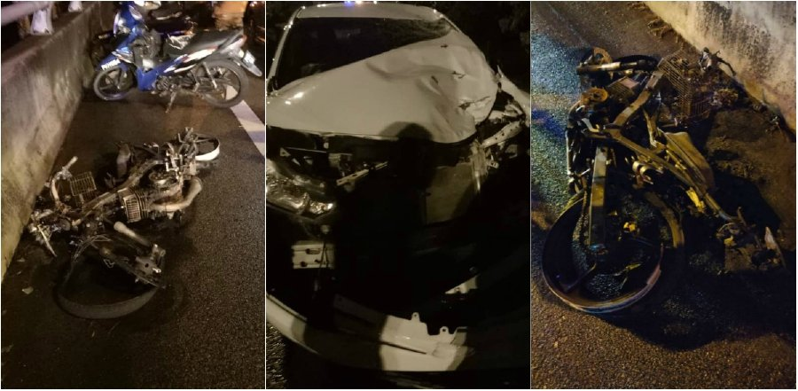 The badly damaged vehicles involved in the crash at Km13 of the Butterworth Outer Ring Road (BORR), heading towards Sungai Dua. - NSTP/Courtesy of police