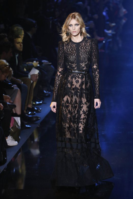 Polish model Anja Rubik presents a creation by Elie Saab during the 2015-2016 fall/winter ready-to-wear collection fashion show in Paris. AFP PHOTO