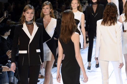 Models present creations for Mugler during the 2015-2016 fall/winter ready-to-wear collection fashion show Paris. AFP PHOTO