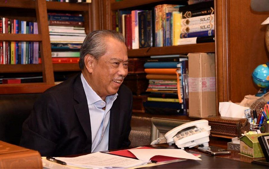 Prime Minister Tan Sri Muhyiddin Yassin speaks to United States President Donald Trump.  - Pic source: Facebook/ts.muhyiddin