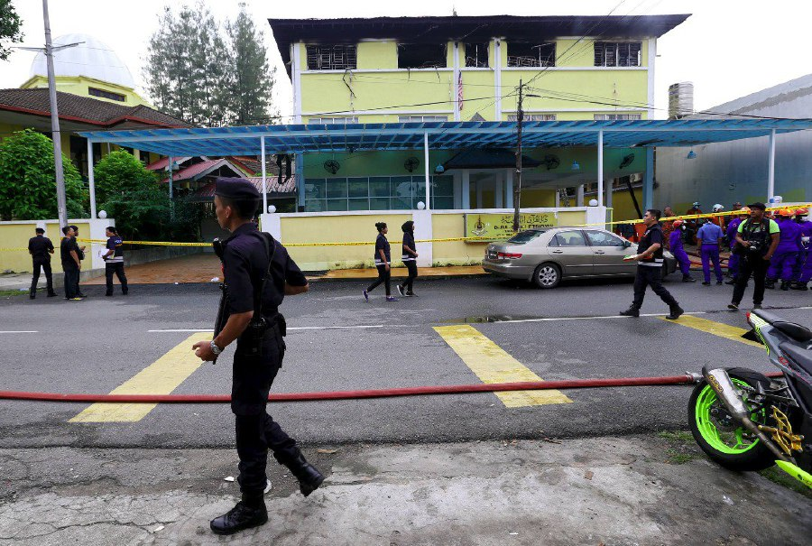 A tahfiz school in Datuk Keramat was destroyed in a blaze early this morning. Pix by Mohd Yusni Ariffin