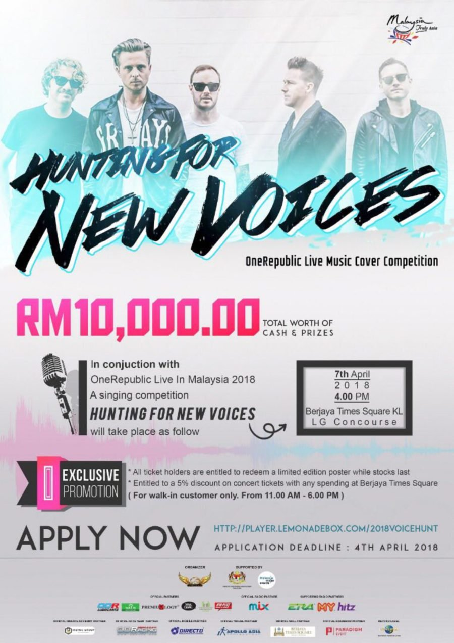 Showbiz: RM10k to be won! Join One Republic: Hunting For New
