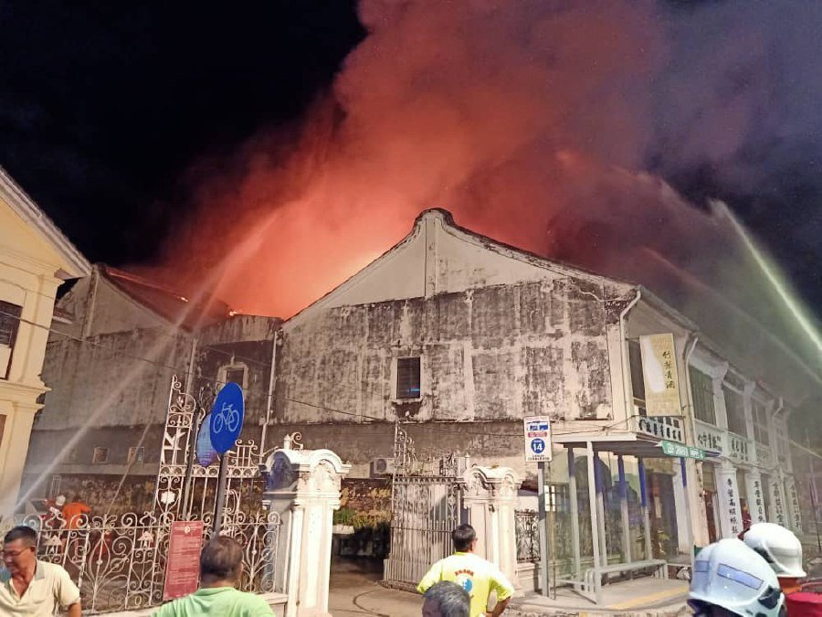 70 per cent of the old folks' home in Lebuh Carnavon was destroyed in the fire. - NSTP/Courtesy of Fire and Rescue Dept.