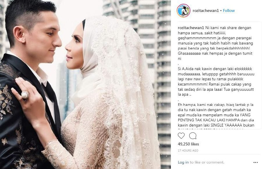 """Frustrated with wildly wagging tongues criticising Aida for being """"too old"""" and of not being """"aware of herself"""", actress Rozita Che Wan, who is married to a strapping young lad herself, got vocal online. (Pic source from Rozita Che Wan Instagram)"""