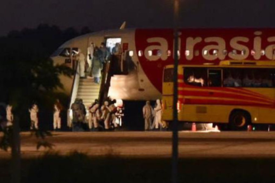 The AirAsia flight from Wuhan arrives at KLIA this morning. - Pic courtesy of Health Ministry
