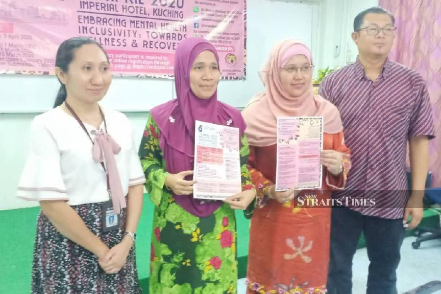 Sentosa Hospital director Dr Rosliwati Mohd Yusop (two from left) said the hospital registered a total of 954 mental patients with 338 currently being treated. -NSTP/NORSYAZWANI NASRI