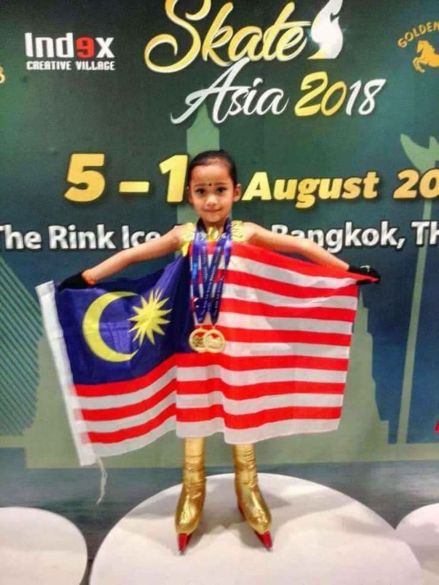 Sree Abiraame B Chendren grabbed attention when the six-year-old won three gold medals in the Ice Skating Institute's (ISI) Skate Asia at the Ring Ice Arena Central World Plaza in Bangkok on Monday.