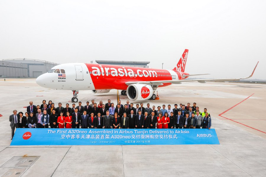 AirAsia tales delivery of first A320neo assembled in Tianjin