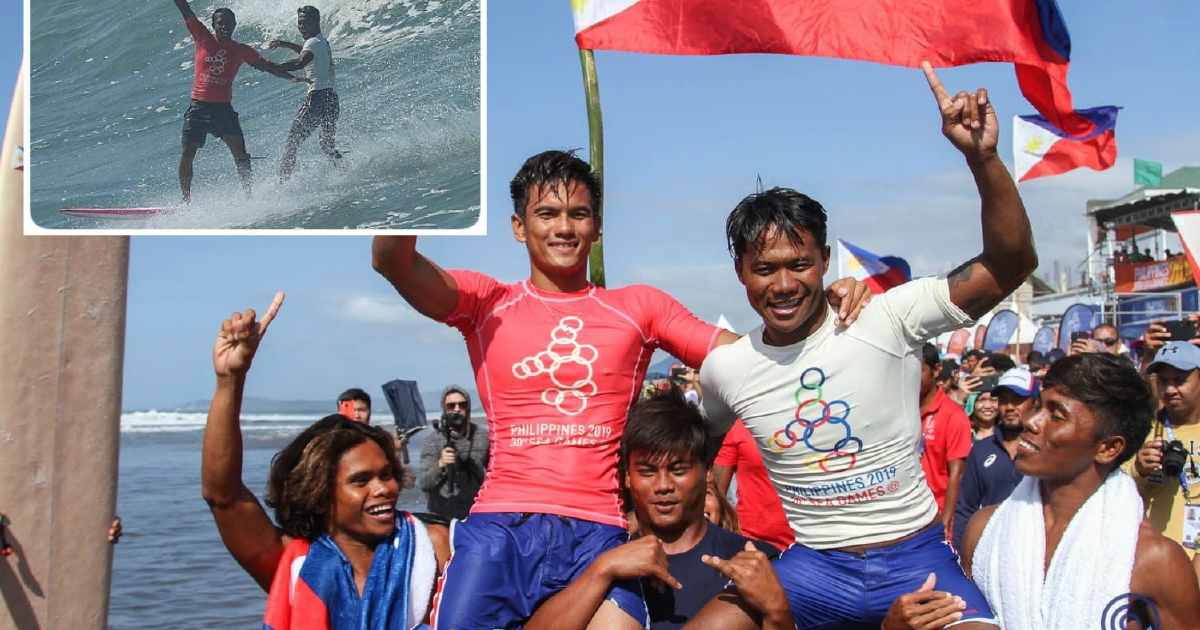Filipino surfer who rescued opponent wins SEA Games gold